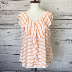 MAURICES White & Orange Ruffle Tank Size Small